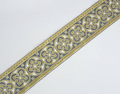 "White Very Wide, Jacquard, Chasuble Trim. Gold & Dark Grey.  3½"" Wide."