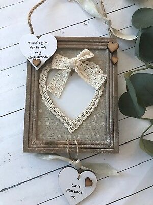 Godparents Frame Personalised Photo Heart Keepsake Gift Birth F28