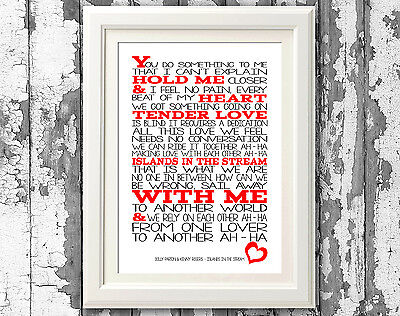 Dolly Parton Islands in the Stream Song Lyrics Typography Print Lyric Art Design