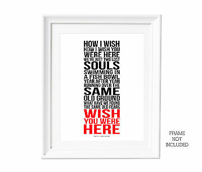 Song Lyrics Pink Floyd Wish You Were Here typography art print for self framing