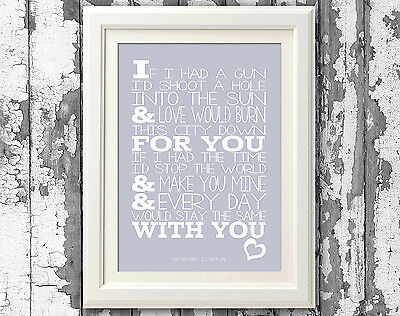 Noel Gallagher If I Had a Gun Song Lyric Poster Coloured Art Typography Print