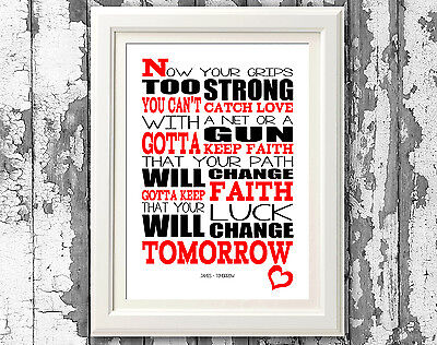 James  Tomorrow  Song Lyrics Poster Art Prints Typography Designs