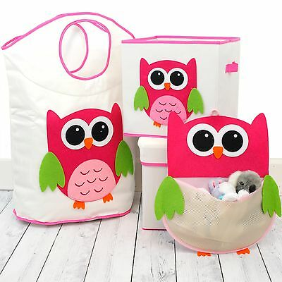 Children's Storage Bin Stool Hamper Owl Lion Kids Toy Organizers