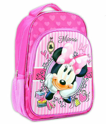 "Minnie Mouse Disney 16"" 3D Graphic - Girls Kids backpack Pink School bag -0994"