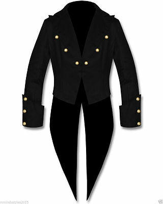 "Men""s Black Cotton Tailcoat Steampunk Goth Victorian Swallowtail Jacket (40-50)"