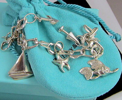 Tiffany & Co Gorgeous Sterling Silver Seas Ocean Starfish Anchor Charm Bracelet