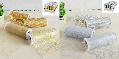 RIBBON Glitter Gold or Silver .. 15cmW x 5 Metres .. Wedding Decoration