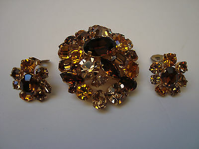 Vintage Austria Signed Brooch & Earrings - Big Bold Autumn Color Rhinestones
