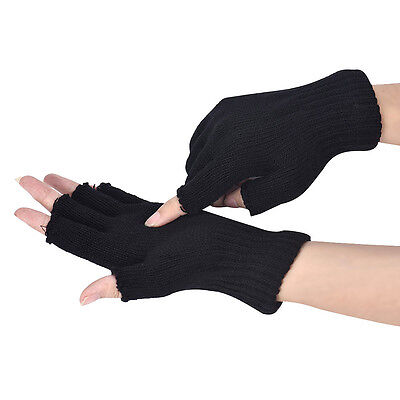 Men Women Black Knitted Stretch Warm Half Finger Fingerless Gloves Hand Warmer