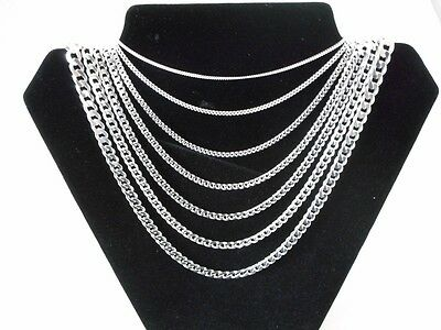 Mens Womens .925 Solid Sterling Silver Curb Link Bracelet Chain Necklace Italy