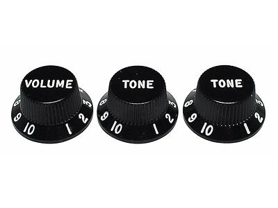 Fender Stratocaster Knobs, Black (Volume, Tone, Tone) (Set of 3) 0991365000