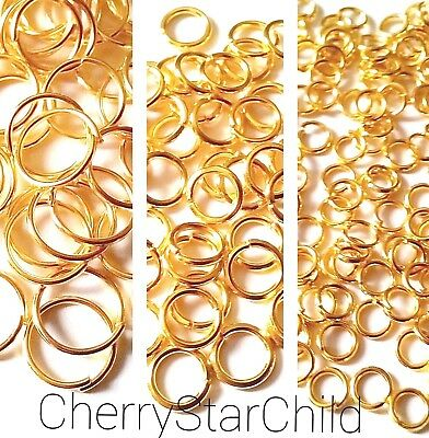100 x gold pl split jump rings small medium large jewellery craft findings