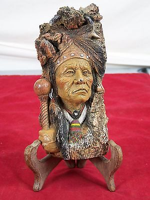 Ceramic Indian Chief Statue Figurine Decoratvie Collectible Native American 6.5""
