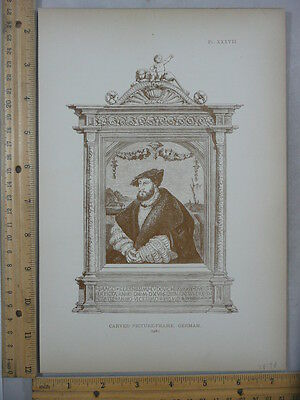 Rare Antique Original VTG 1878 Carved German Picture Frame Engraving Art Print