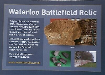 Waterloo battle relic Very large piece Hougoumont wall & certificate provenence