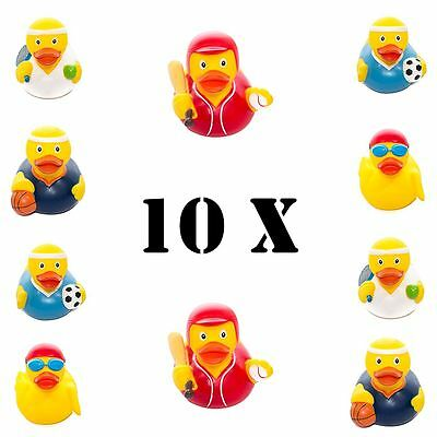 10 x Yellow Bathtime Rubber Duck Bath Toy Squeaky Water Play Fun Kids Toddler