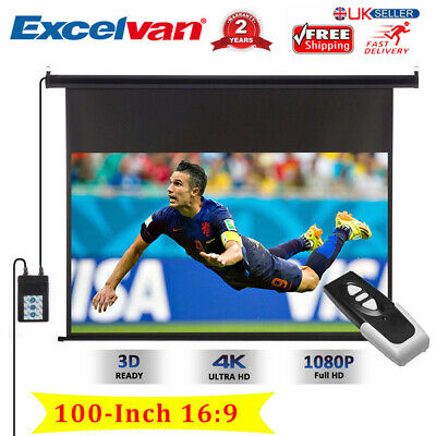 100 Inch Projector Screen 4K Electric Motorised TV Projection 3D HD 1080P AUS