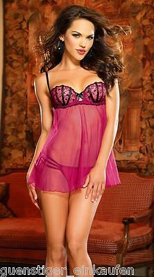 Sexy Negligee Babydoll push up in Rosa / Brombeere incl. String 70103 Dessous