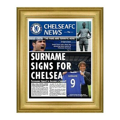 Personalised Chelsea FC Official Football Club Newspaper Any Name Great Gift