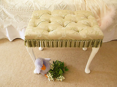 Vintage Dressing Table Bedroom Stool Upholstered Buttoned Queen Anne Legs
