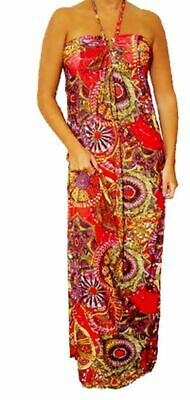 L3X Red Multi Color Summer Beaded Maxi Halter Long DRESS Tropical Juniors S M L