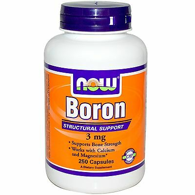 NOW FOODS - BORON - 3mg x 250 CAPSULES - SUPPORTS BONE STRENGTH