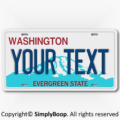 Washington State ANY TEXT Personalized Your Way Vanity License Plate Tag New