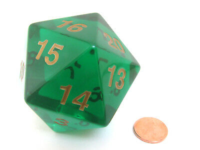55mm Jumbo 20-Sided D20 Countdown Dice - Transparent Emerald Gold