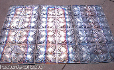 24 Antique Victorian Ceiling Tin Tiles Iridescent Flowers Gorgeous Chic
