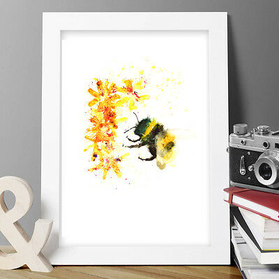 Bumble Bee Flowers Original Watercolour Print New Signed Pop Art Abstract