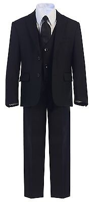 Boy Toddler Kid Teen 5PC Wedding Formal Party Black Suit Tuxedo W/ Vest sz 2-20