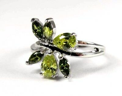 Forest Green Peridot simulated gemstone ladies silver ring size 8.25 R#7086