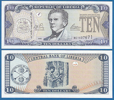 LIBERIA 10 Dollars  P 27 a 2003 UNC Low Shipping! Combine FREE! (P-27a)