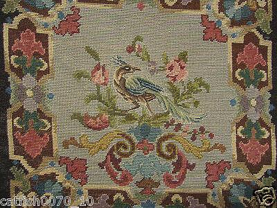 Vintage Wool/silk Needlepoint Embroidered Cushion Cover