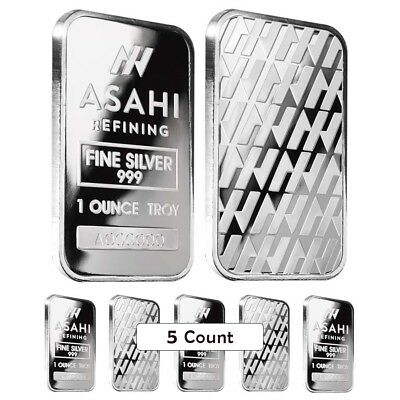 Lot of 5 - 1 oz Asahi Silver Bar .999 Fine Sealed