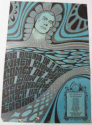Levi's Poster from San Francisco December 10 1966 Fillmore Era Artist Wes Wilson