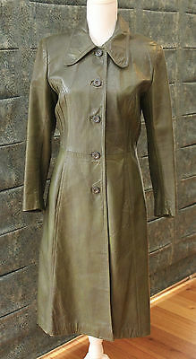 Vintage Retro Long Leather Dark Green Coat - Fully Lined - Size 10 GVC
