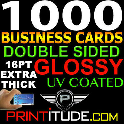 16Pt Custom Designed 1000 Full Color Thick Double Sided Uv Glossy Business Cards