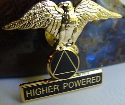 Alcoholics Anonymous Eagle Gold Plate AA Lapel Hat Vest Pin Recovery Symbol