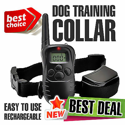 Pet Dog Training Collar Rechargeable Waterproof Electric LCD 100LV Shock Vibra