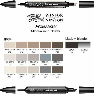 Winsor & Newton Graphic Artists Single Promarkers - Greys & Blender