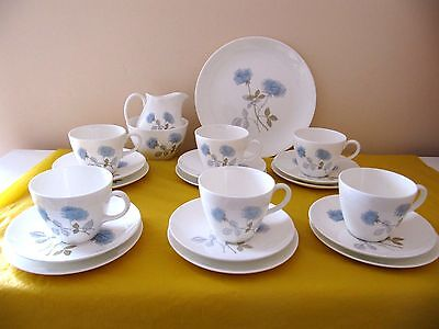 WEDGWOOD ICE ROSE TEA SET for 6 (without tea pot), used in VGC