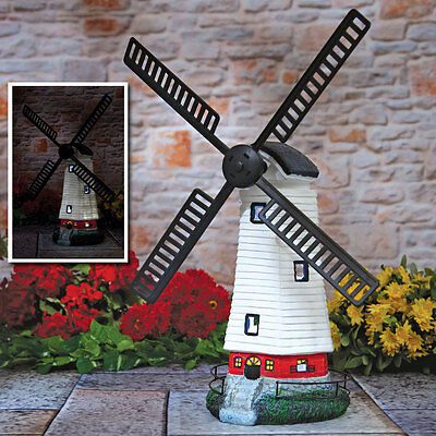 Outdoor Spinning Solar Windmill Light LED Garden Deck Intricate Design Charges