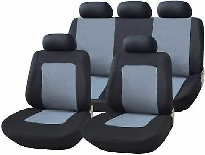 11 Pce Florida Black And Grey Universal Car Seat Covers Front And Back Full Set