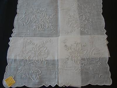 Vintage Linen Handkerchief Bridal Wedding Gorgeous Hand Embroidery Roses Mwt