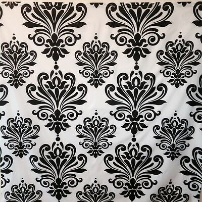 Curtains Ideas black and white damask curtains : Black Grey White Embossed Fabric Shower Curtain: Floral Damask ...