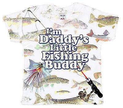 """DF Baby T-Shirt All Over Print """"I'm Daddy's Little Fishing Buddy"""" Fish Dad Gift"""