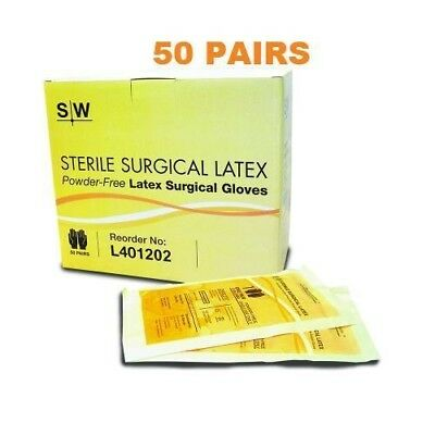 Sterile Surgical Gloves, Size 7.5, 50 Pairs per Box