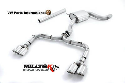 VW GOLF MK7 GTI MILLTEK 3″ Race R Style Cat Back Exhaust Polished Tips Non Res
