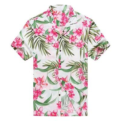d77cbd57 Made in Hawaii Men Aloha Hawaiian Shirt Pink Floral with Green Leaf in White